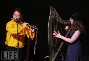 Phamie performing 'live' in The Carnegie Hall with Nawang Khechog